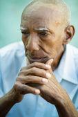 Portrait of sad bald senior man — Stock Photo