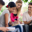 College students doing homeworks in park — Stock Photo #11891365