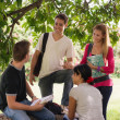 Royalty-Free Stock Photo: University students meeting and preparing test