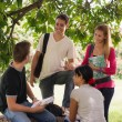 Stock Photo: University students meeting and preparing test