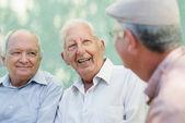 Groep gelukkig bejaarde mannen lachen en praten — Stockfoto
