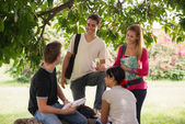 University students meeting and preparing test — Stock Photo