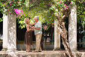 Happy senior couple dancing latin american dance for fun — Foto Stock