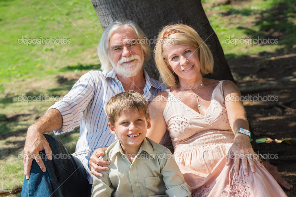 Happy grandfather and grandmother with grandson sitting on grass under tree in park — Stock Photo #11892285
