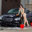 Girl Washing Car — Stock Photo #11645718