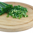 Green spring onions cutting — Foto Stock
