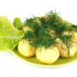 The young boiled potatoes with lettuce and dill — Stock Photo