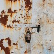 The iron door and a rusty old lock — Stock Photo