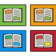 Collection of open book vector — Stock Vector