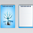 Notebook with a winter tree, vector — Vector de stock
