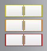 Collection of open white notebook — Stock Vector