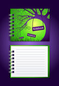 Notebook with an illustration — Stock Vector