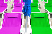 Colorful dock chairs — Stock Photo