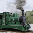 Old green steam train in Holland - Stock Photo