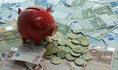 Euro money paper and coins and money pig — Stock Photo