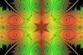 Lime Green and Orange Tapestry Abstract Background — Stock Photo