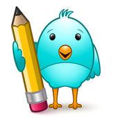Pták s tužkou — Stock vektor