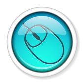 Computer mouse icon button. — ストックベクタ