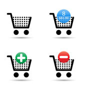 Shopping cart ikoner set — Stockvektor
