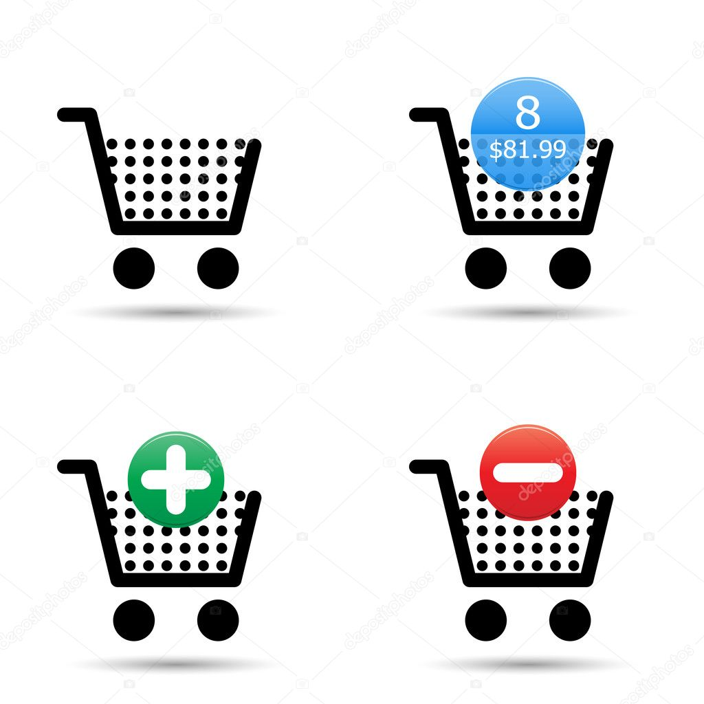 "Shopping cart trolley icons set. Includes ""empty cart"", ""filled cart"" with item count and valuation, ""add to cart"" and ""remove from cart"" icons. EPS10. — Stock Vector #11605753"