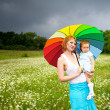 Mother with daughter on the meadow — Stock Photo #10817505