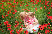 Family on the poppy field — Stock Photo