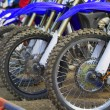 Motocross bikes on the start line — Stock Photo
