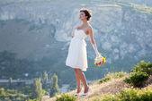 Bride outdoor portrait — Stock Photo