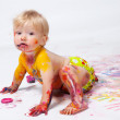 Little girl painting in studio — Stock Photo