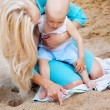 Mother with her baby on the beach — Stock Photo #11534491