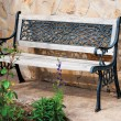Stock Photo: Old wooden bench in village orchard