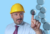 Adult man wears a protective helmet — Stock Photo