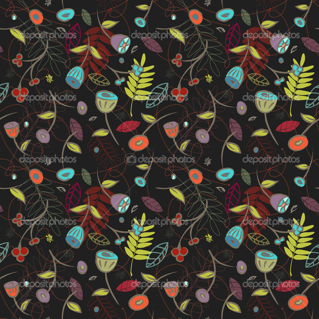 This seamless flowers and leaves pattern is a scalable vector, making it ideal for textiles, gift-wrapping and decorative papers, backgrounds, greeting cards, wallpaper and more.  Stock Vector #10768829