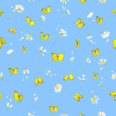 Seamless butteflies and daisies — Stock Photo