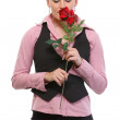 Woman smelling rose — Stock Photo #11550733