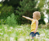Baby girl playing with dandelions outdoors — Stock Photo