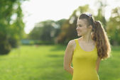 Portrait of beautiful woman outdoors looking on copy space — Stock Photo