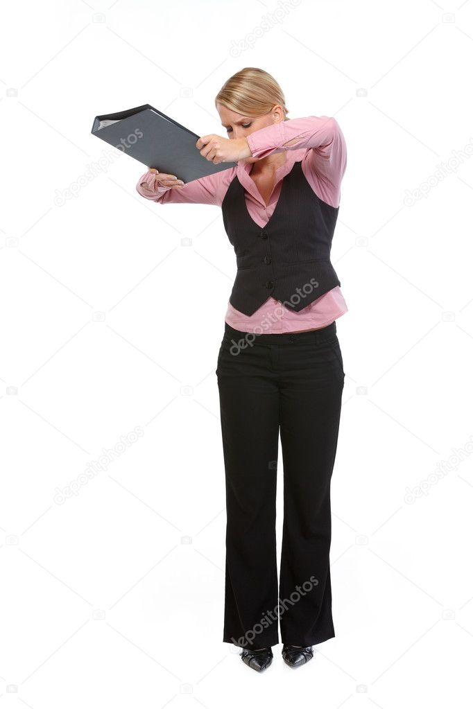 Full length portrait of angry woman dropping folder  Stock Photo #11550738