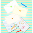 Envelopes with hearts — Stock Photo