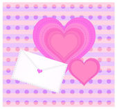 Decorative background with envelope and heart — Stock Photo
