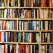 Stock Photo: Bookstore wooden shelves wall