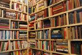Bookstore's shelves corner — Stock Photo