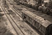Old railway cisterns, wagon, lines — Stock Photo