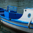 Blue and white sea boat — Stock Photo