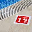 Stock Photo: Pool depth sign