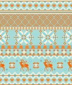 Knitting nordic Merry Christmas Scandinavian seamless pattern with deers — Stock Vector