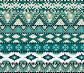 Aztecs seamless pattern on cold color — Stok Vektör