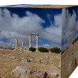 Cube 3d of Pillars of Hercules to citadel in Amman — Stock Photo
