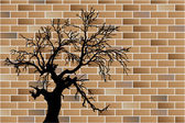 Dead tree on wall — Vector de stock