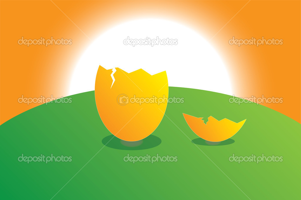 Egg hatched on the lawn at sunset — Stock Vector #11444984